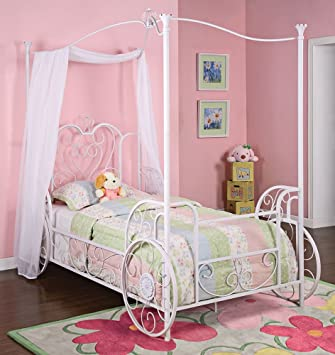 powell princess emily shabby chic white with pink sand through carriage canopy - Twin Size Bed Frame