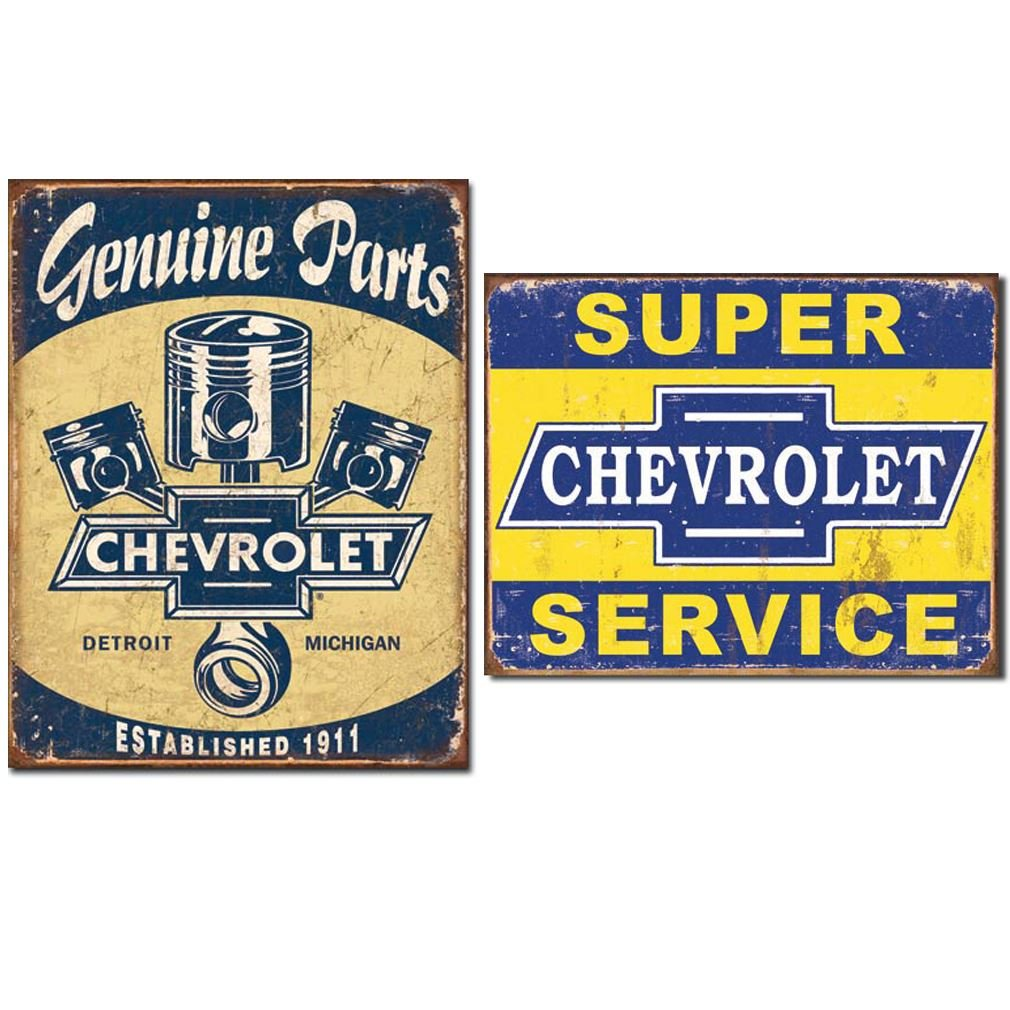Amazon.com: Genuine Chevrolet Vintage Home Décor Set Of Tin Signs Nostalgic  Of Detroit Auto History: Home U0026 Kitchen