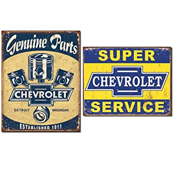 Genuine Chevrolet Vintage Home D Cor Set Of Tin Signs Nostalgic Of Detroit Auto History