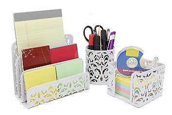 EasyPAG Carved Hollow Flower Pattern 3 In 1 Desk Organizer Set   Letter  Sorter , Pencil