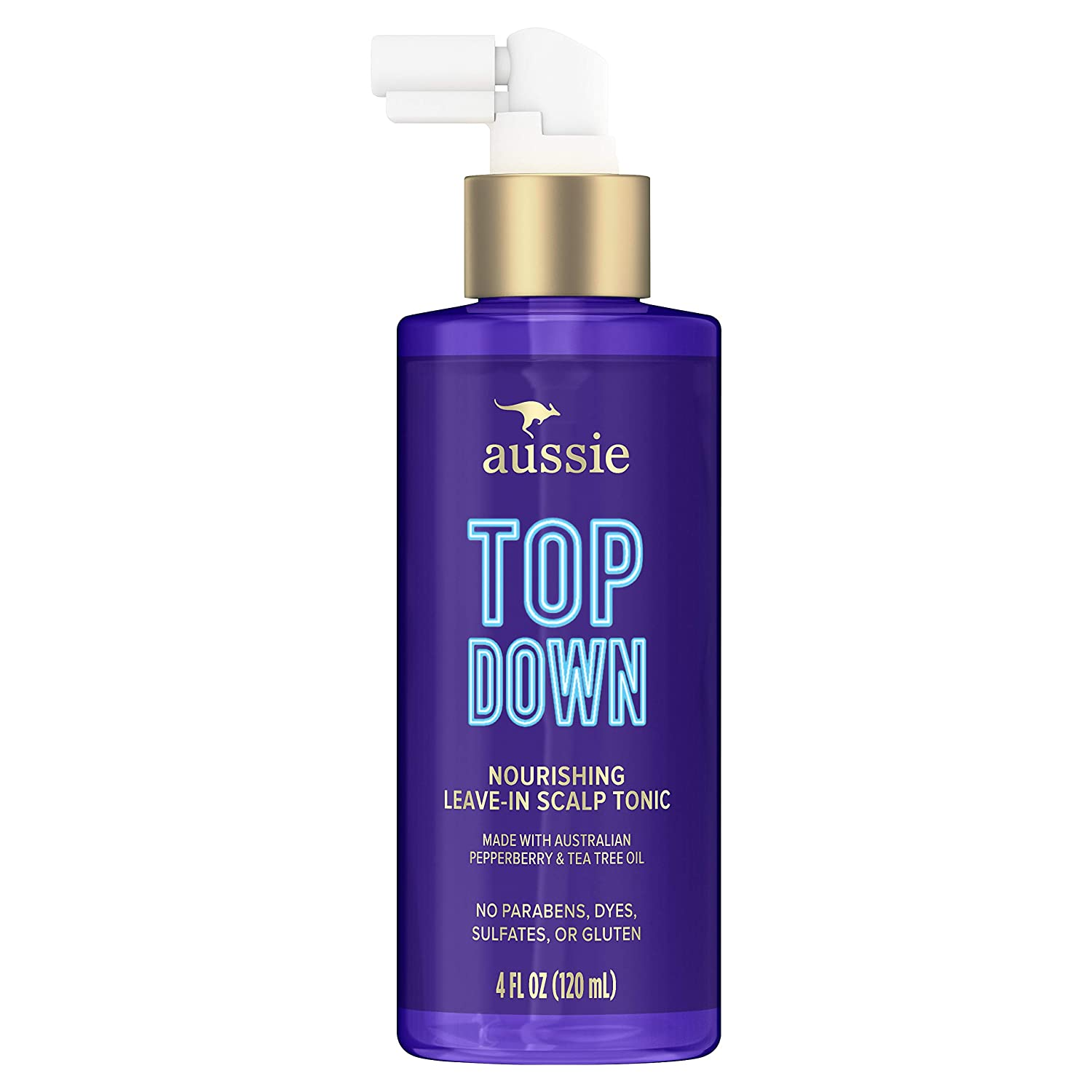 Aussie Top Down Nourishing Leave-In Scalp Tonic, Infused with Australian Pepperberry and Tea Tree Oil, Paraben & Dye Free, 4 Oz