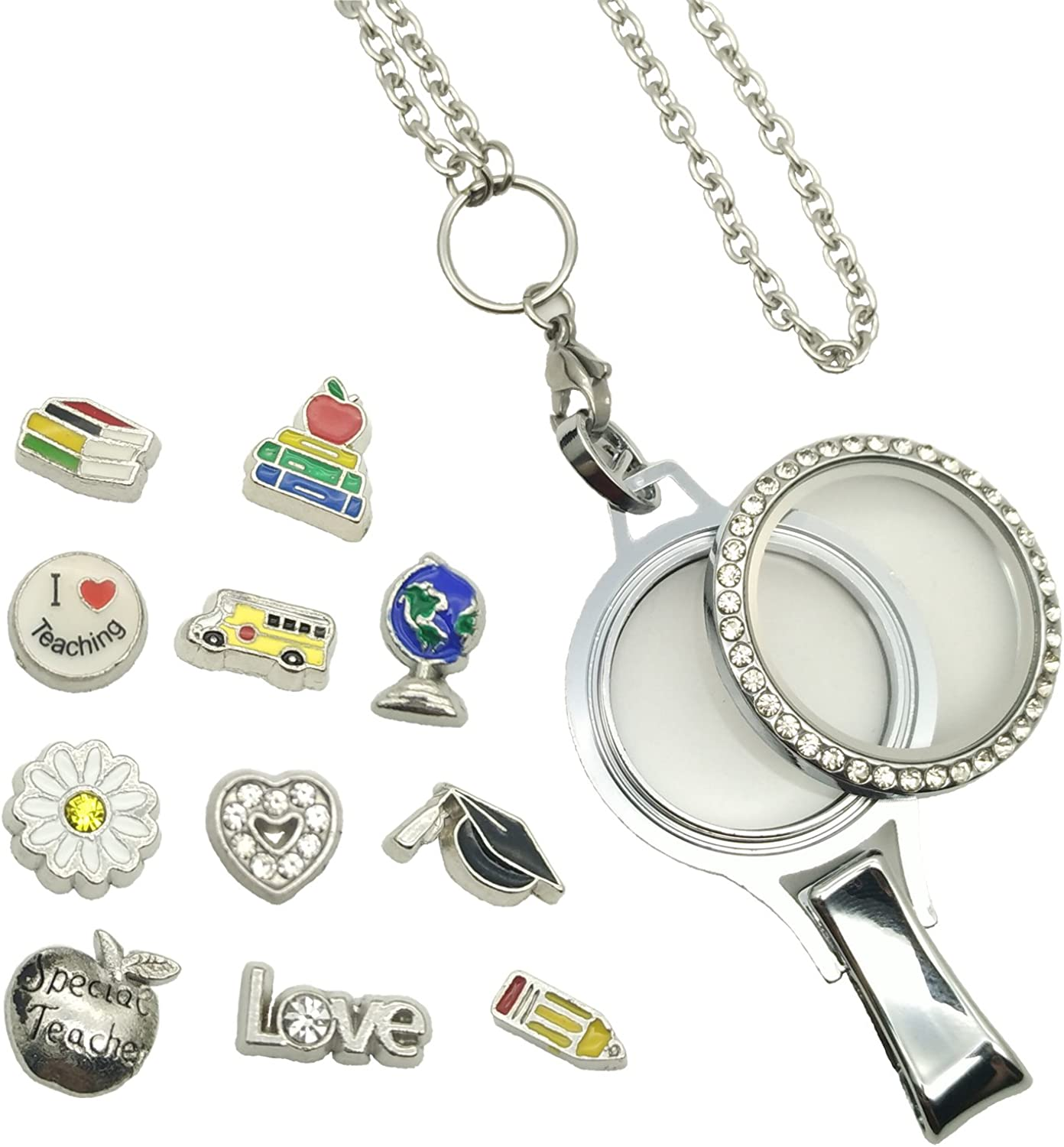 FC LY NP Custom Stainless Steel Lanyard with Floating Charm Locket Badge Reel with Sturdy Screw Top Lid and Key Ring Retractable Heavy Duty Rust and Tarnish Free Chain