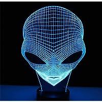 3D Illusie Nachtlampje LED Licht Andere Planeten Mensen Hoofd met 7 Kleuren Licht voor Alien Woondecoratie Lamp…