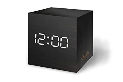 Bashley Wood Alarm Clock Digital LED Light Minimalist Mini Cube with Date and Temperature Sound Control