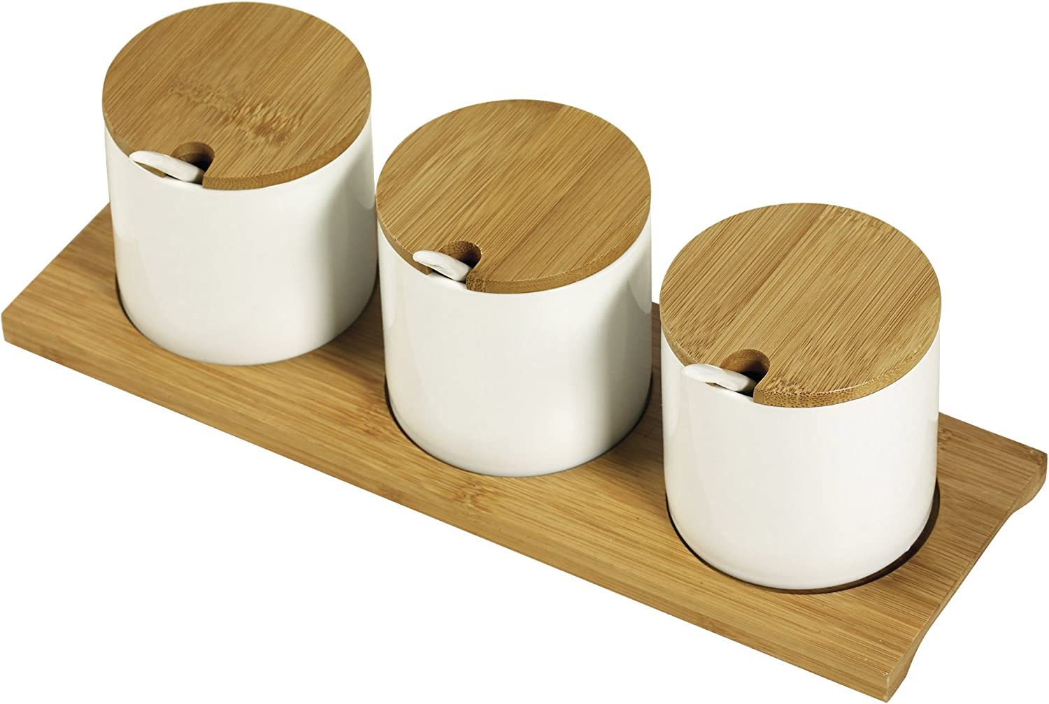 Denmark White and Bamboo Wood Serveware- Parties Catering Entertaining, 10 Piece Condiment Canister Set with Spoons and Tray
