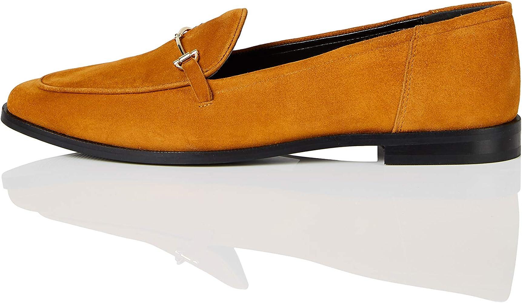 Marca Amazon - find. Snaffle Leather Loafer Mocasines, Amarillo Corona, 36 EU: Amazon.es: Zapatos y complementos