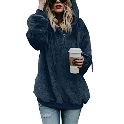 Aleumdr Womens Oversized Warm Fuzzy Hoodies Cozy Loose 1/4 Zipper Pullover Hooded Sweatshirt Outwear with Pockets at Women's Clothing store