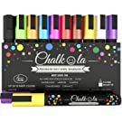 Chalk Pens - Pack of 10 neon Colour Markers. Used on Whiteboard, Chalkboard, Window, Blackboard - 6mm Reversible Bullet & Chisel Tip