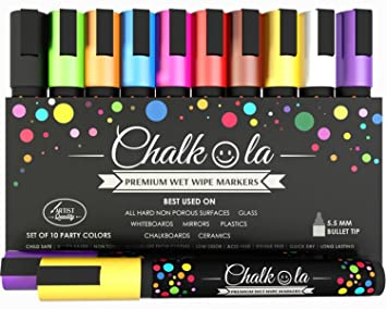20-Color LINKYO Wet Erase Liquid Chalk Marker Pens (Including GOLD, SILVER &