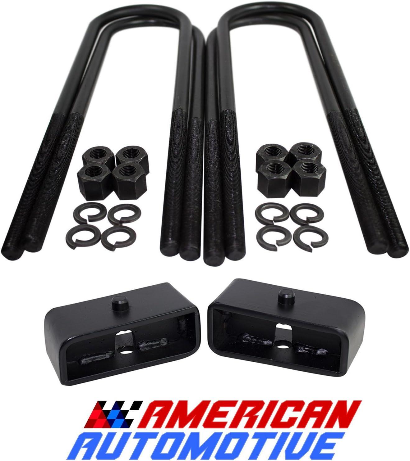 American Automotive 1999-2018 F250 F350 2 Rear Lift Blocks SuperDuty Kit 2WD 4WD /& U Bolt Super Duty Kit