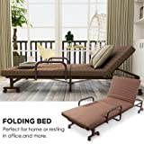 ONXO Folding Guest Bed Chaise Lounge Chairs Adjustable Sofa Bed Rollaway Metal Bed with Mattress and Pillow