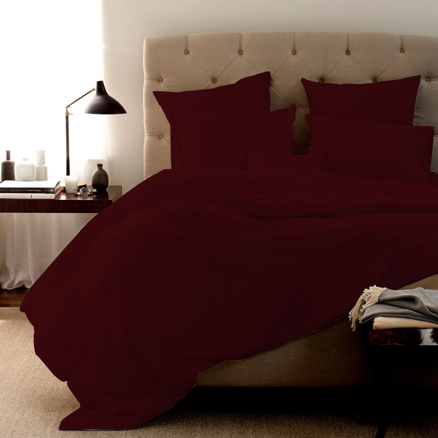 """New York Mercado Luxurious and breathable Super Soft PIMA cotton 6 PC sheet set 800 TC, Italian finish Bed sheet fits upto 21"""" deep pocket with extra 4 pillowcases King, Burgundy"""
