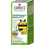Zarbee's Naturals Children's Cough Syrup + Mucus with Dark Honey Flavor Ounce Bottle, Grape, 4 Fl Oz