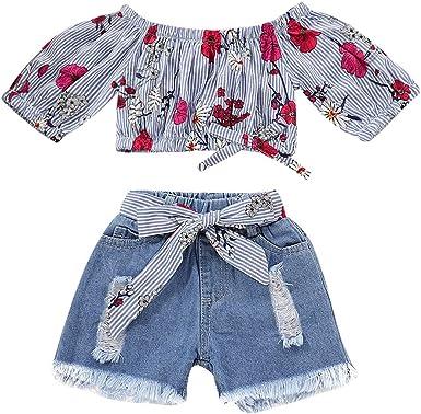 Toddler Kids Baby Girl Summer Outfits Floral Print Off-Shoulder Tube Top Shorts Clothes Set