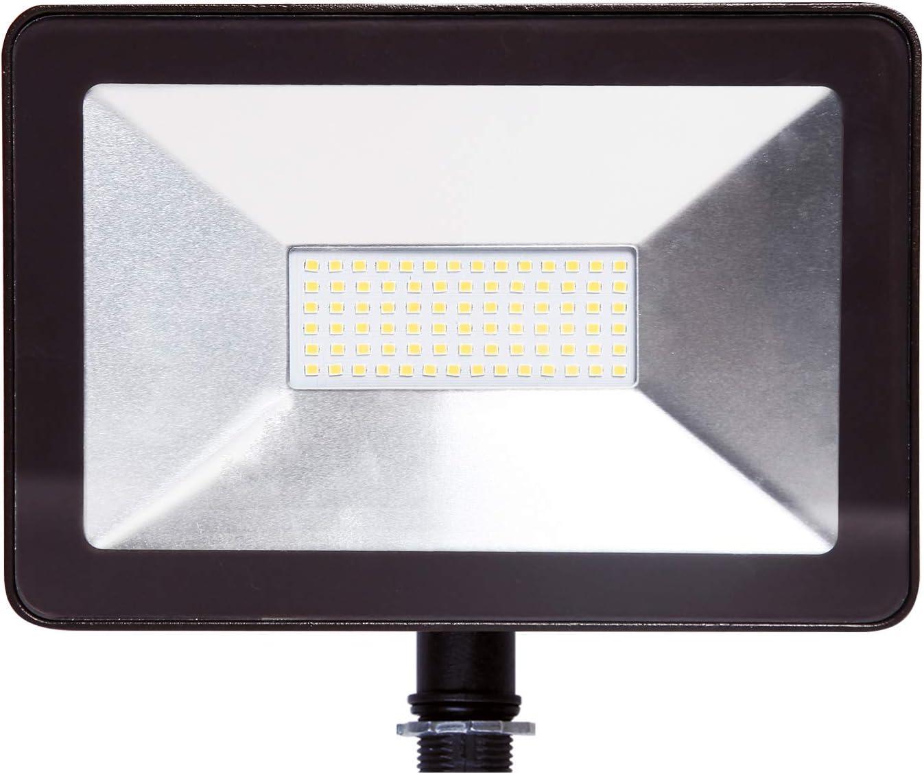 ASD 50W LED Flood Light Outdoor with Arm Mount – 5000K Daylight 5133lm SMD – Super Bright Light Waterproof for Garage Yard Garden Landscape – Super Slim – ETL Listed DLC – Bronze