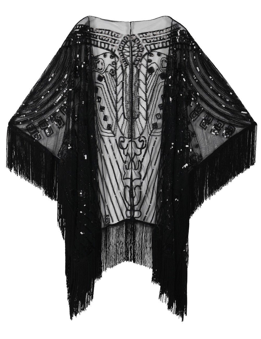 1900-1910s Clothing Kayamiya Womens Evening Shawl Wraps 1920s Sequin Beaded Cape With Fringe $33.99 AT vintagedancer.com