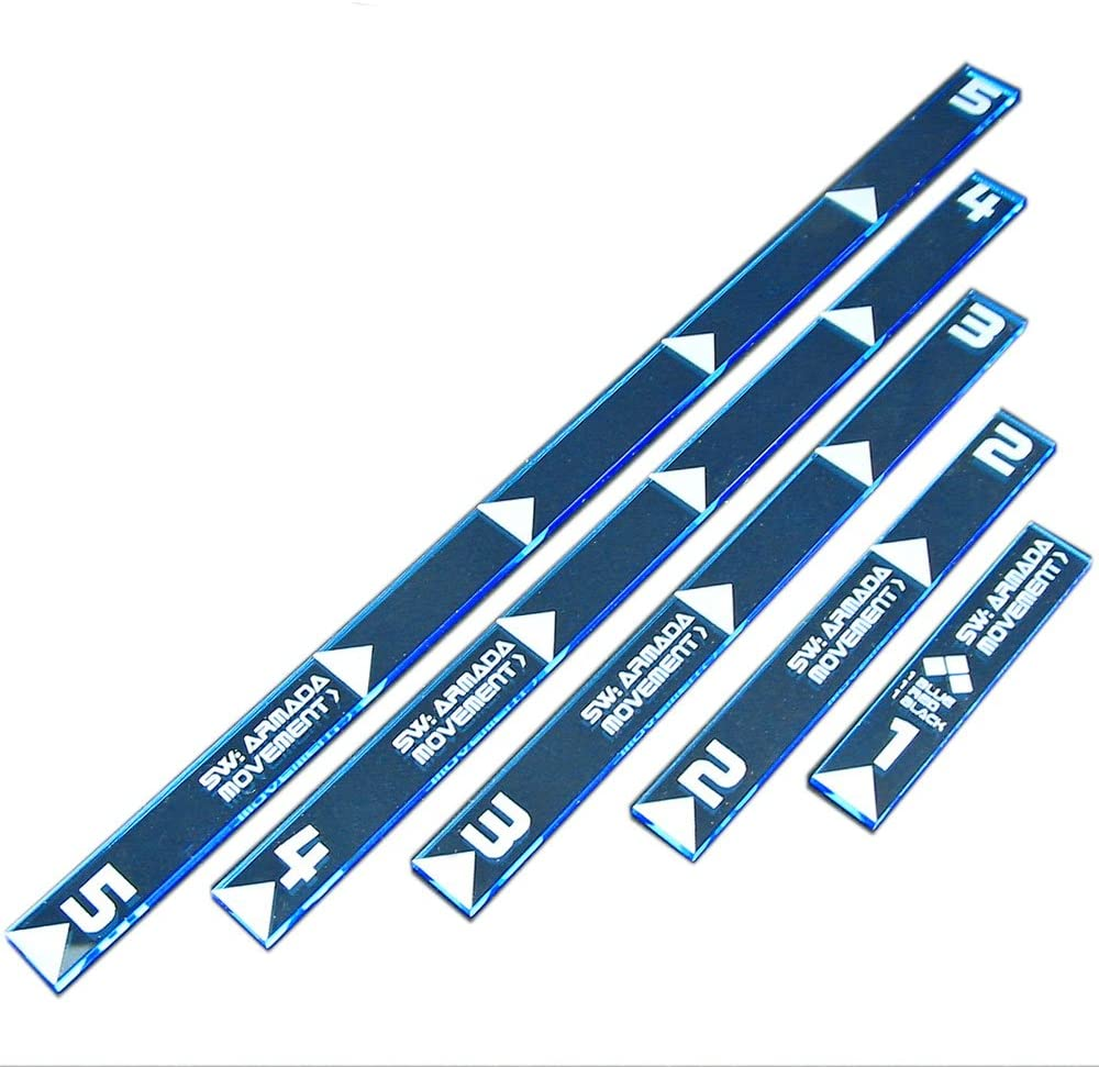 LITKO SW: Armada Multi Range Movement Ruler Set, Fluorescent Blue (5)
