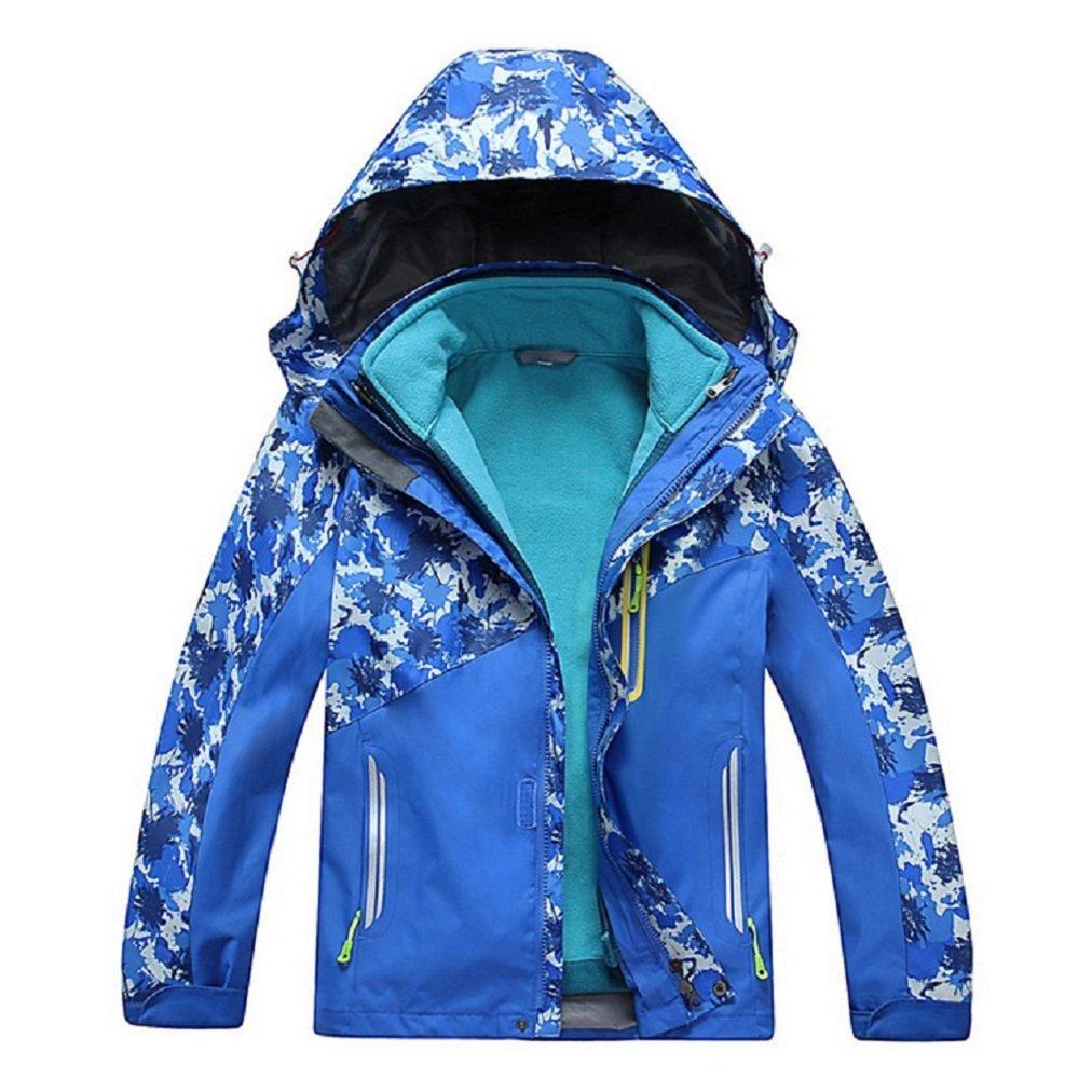 Bakerdani Boys Girls Climbing Jacket Two-piece Three-in-one Removable Warm Coat