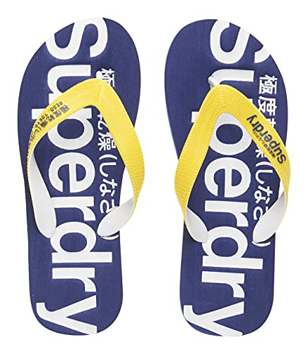 8622d4d54f19 Superdry Men Yellow   Navy Textured Printed Flip-Flops (8 UK India ...