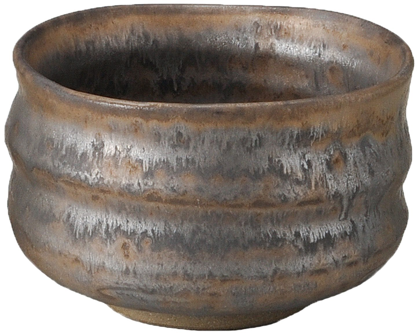 Yamakiikai Japanese Tea cup Matcha Bowl Brown Ibushi pattern made by 高瀬 (Takase) F1728 from Japan