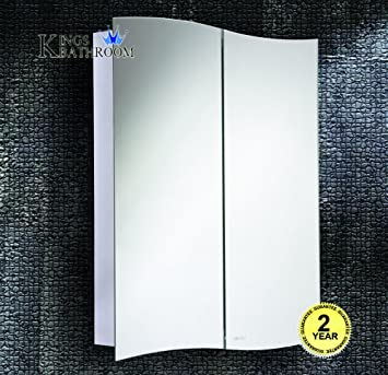 600700mm Wave Duo Hinged Door Stainless Steel Bathroom Mirror Cabinet