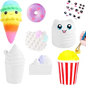 7Pcs Arts and Crafts for Girls, DIY Dessert Paint Your Own Squishies Kit! Gifts for Craft Lovers Kids Top Christmas Toys. Jumbo Slow Rise Squishies Stress Relief for Adult, with Decorating Stickers