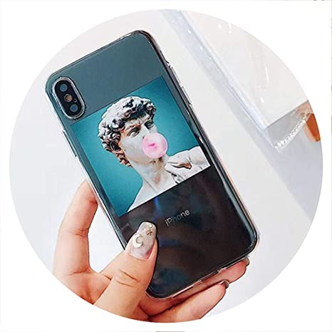 New Face Vintage Statue David Illustration Phone Case For I Phone 6 Funny Oil Painting Women Clear Cases For I Phone 6s 7 8 Plus X Bag,Style 1,For I Phone 6 6s by New Face