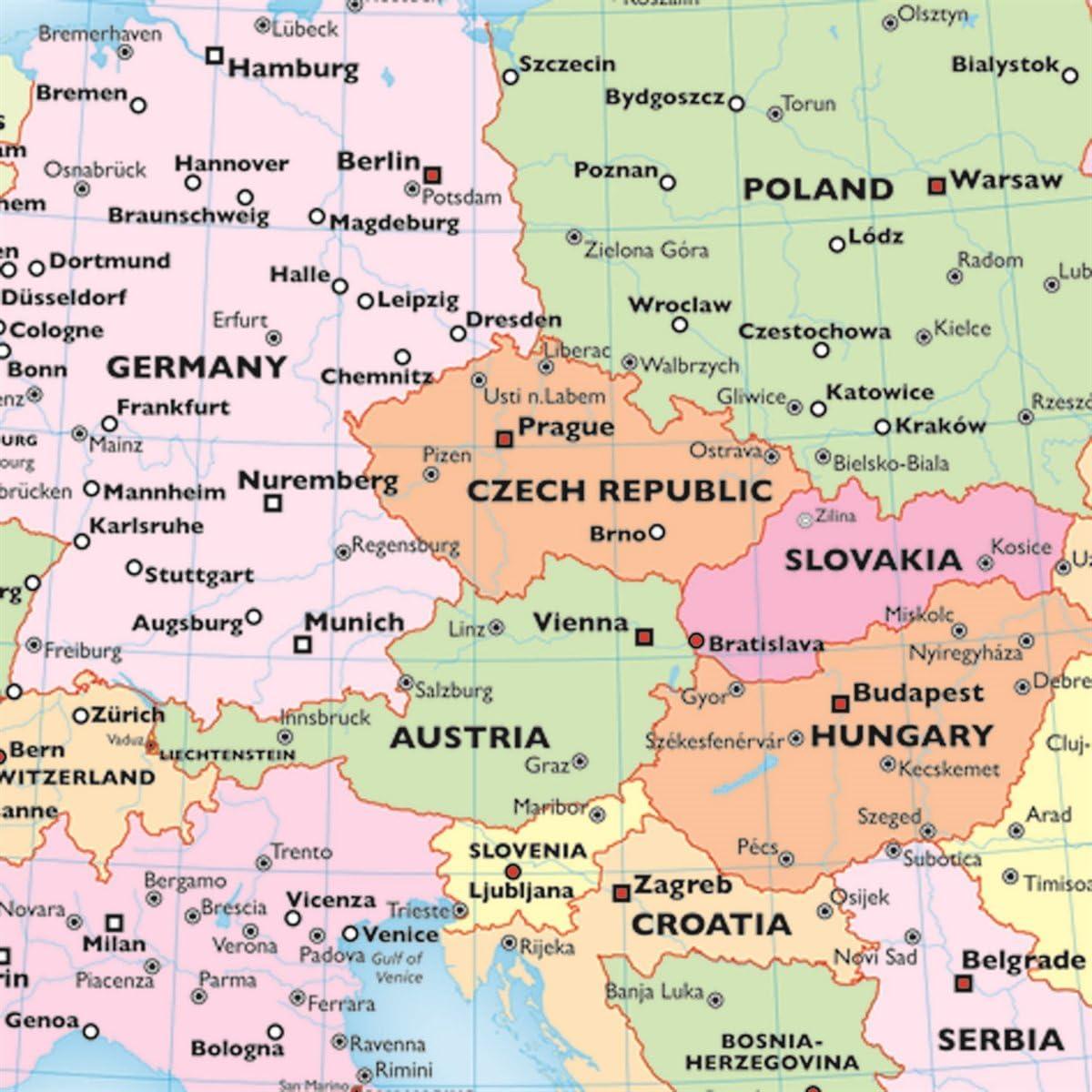 Mapa de Europa para niños – Reversible político/físico laminado mapa de pared, ZMFP147: Amazon.es: Oficina y papelería