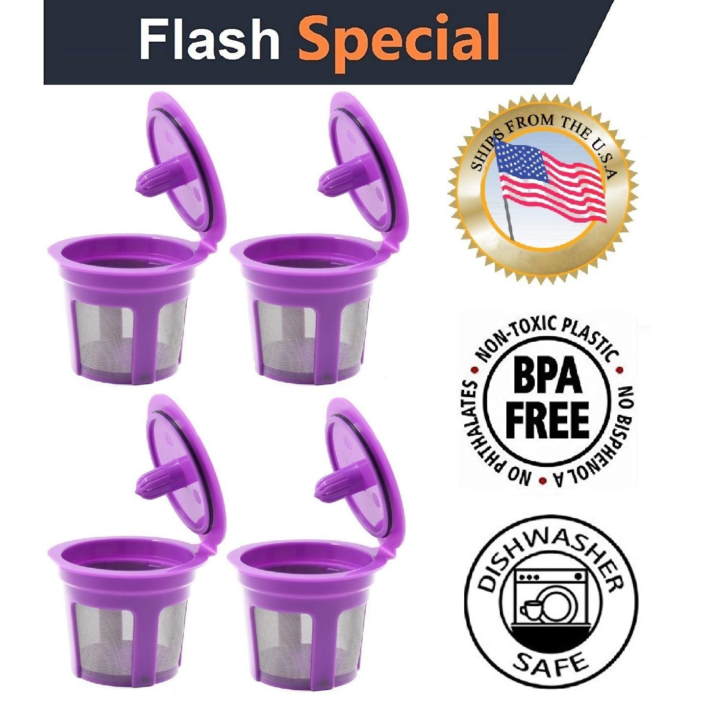 Fill N Save 4 Reusable K Cups, Refillable Keurig Filters for Keurig 2.0 and 1.0 Coffee Machines. Excellent Filter Replacement to Coffee Pods and Accessories