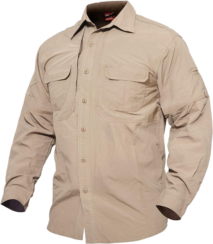 MAGCOMSEN Camiseta de manga larga transpirable de secado rápido, para pesca, trabajo, viajes Para Hombres