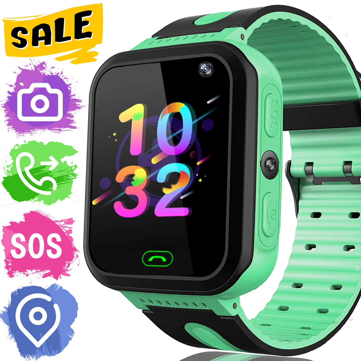 368ec55d367 Kids Smart Phone Watch GPS Tracker - Kidaily SmartWatch for 3-14 Years Boys  Girls with SOS Anti-lost Camera Game SIM Card Slot Touch Screen Digital  Wrist ...