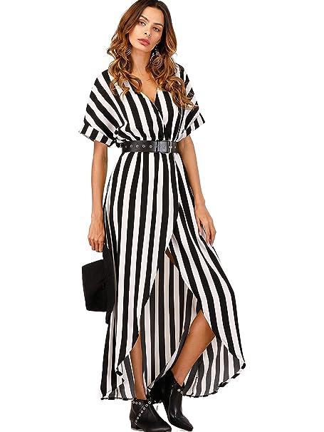 1915d74f2b6 Romwe Women s Self Tie Striped Print Short Sleeve Front Maxi Shift Dress  with Belt Black White