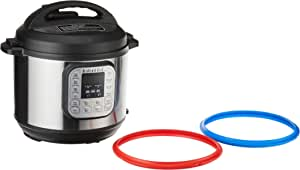 Instant Pot Duo 7-in- 1 Electric Pressure Cooker, Twin Pack Sealing Rings (Red and Blue)