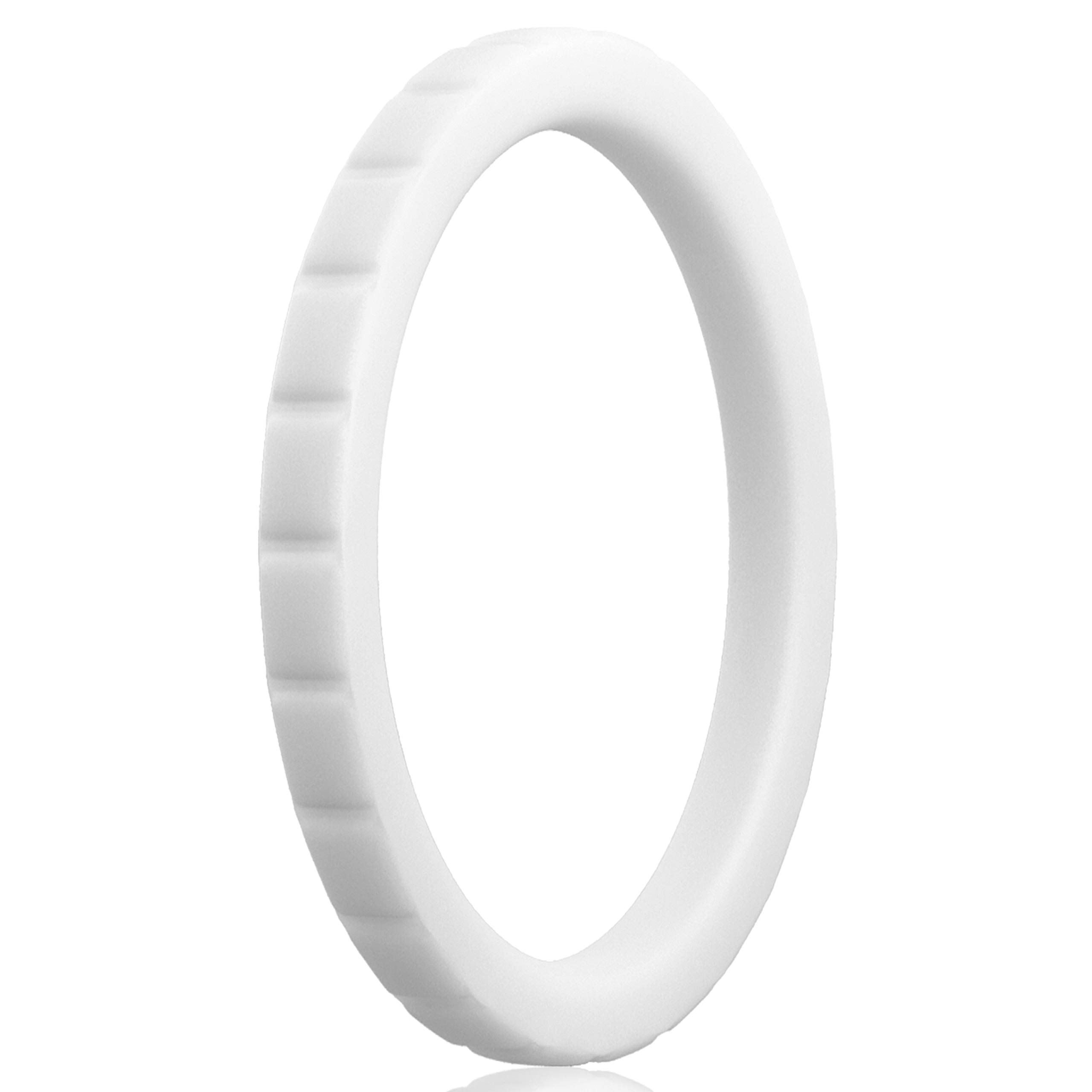 Women Silicone Wedding Band - Thin Stackable Ring - Square Diamonds - 2.8mm Wide - 2mm Thick