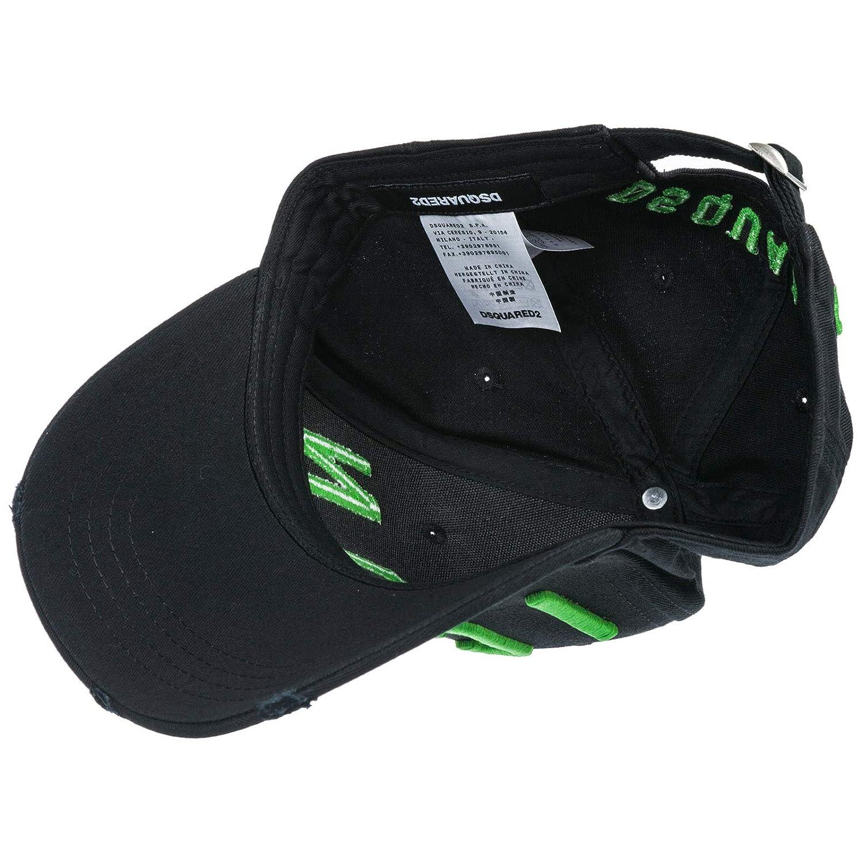 cda534a90ef76 Dsquared2 Accessoires Homme Casquette Baseball Icon Noir Vert Fluo   Amazon.fr  Vêtements et accessoires
