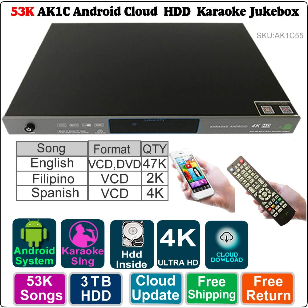 3TB HDD 53K English Filipino Spanish Song Android ECHO Karaoke Machine,Songs Player/Jukebox,English Songs update to 2018