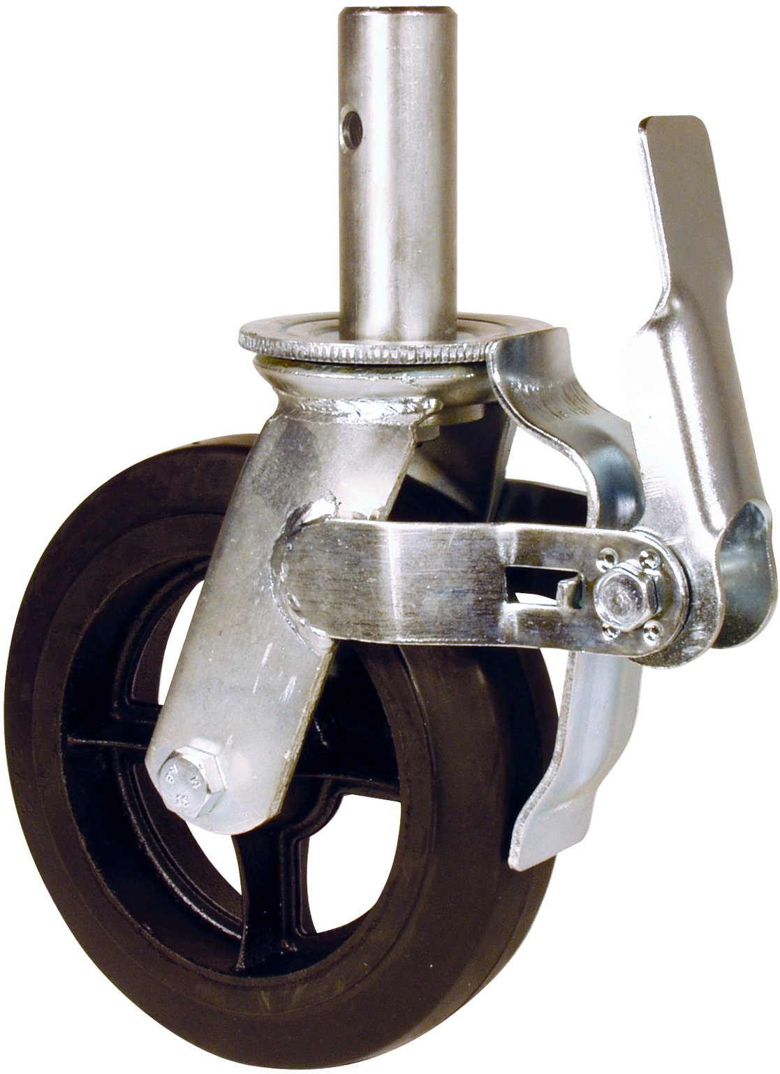 RWM Casters Locking Stem Scaffold Caster, Swivel with Lock, Rubber on Iron Wheel, Roller Bearing, 500 lbs Capacity, 8'' Wheel Dia, 2'' Wheel Width, 9-1/4'' Mount Height, 1-3/8'' Stem Dia, 3-3/4'' Stem Height by RWM Casters