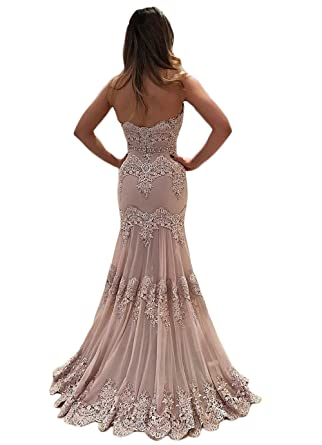 SDRESS Womens Lace Appliques Strapless Open Back Beaded Mermaid Prom Dress at Amazon Womens Clothing store: