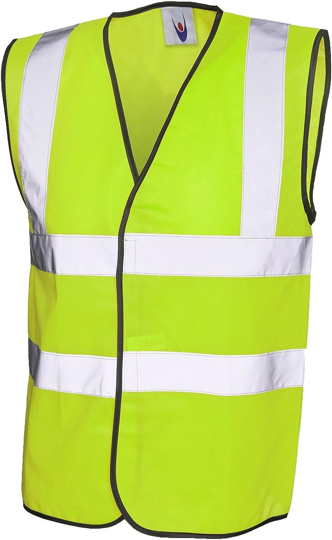 3XL Yellow Hi-Vis Safety Vest Jacket High Visibility Waistcoat Work Workwear EN471 UC801