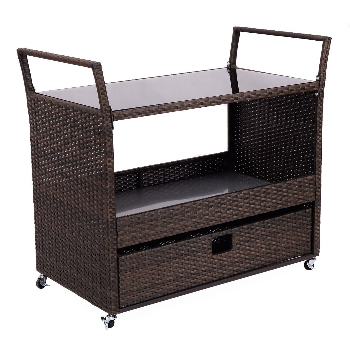 Kitchen Trolley Cart Rolling Portable for Dining Restaurant with Shelves Rattan Wicker