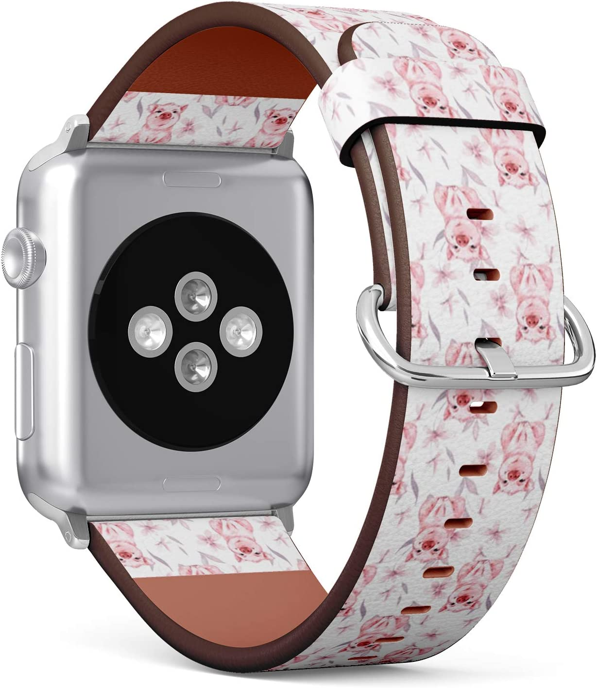 Compatible with Apple Watch Serie 4/3/2/1 (Small Version 38/40 mm) Leather Wristband Bracelet Replacement Accessory Band + Adapters - Pig Flowers Watercolor