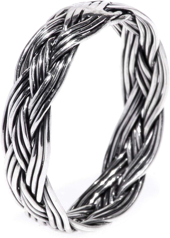 WINDALF Geflochtener Wikingerring Z/ÄERA 5 mm Vintage Zopf Flecht Muster Bohemian Midi-Ring Handgeschmiedet 925 Sterlingsilber