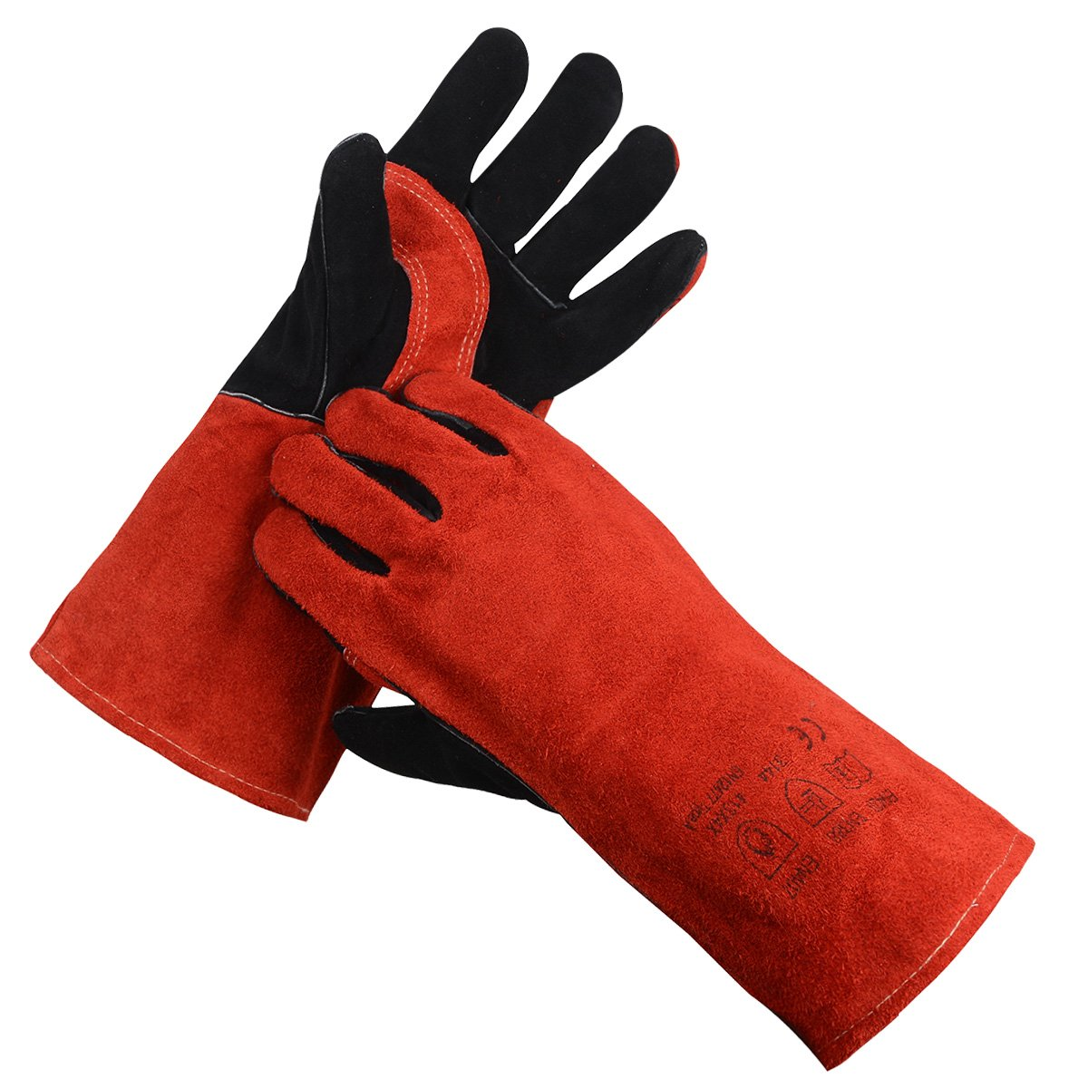 BHSHEN Welding Gloves Stiched Leather for Tig / Mig Heat Resistant 14'' (Red)