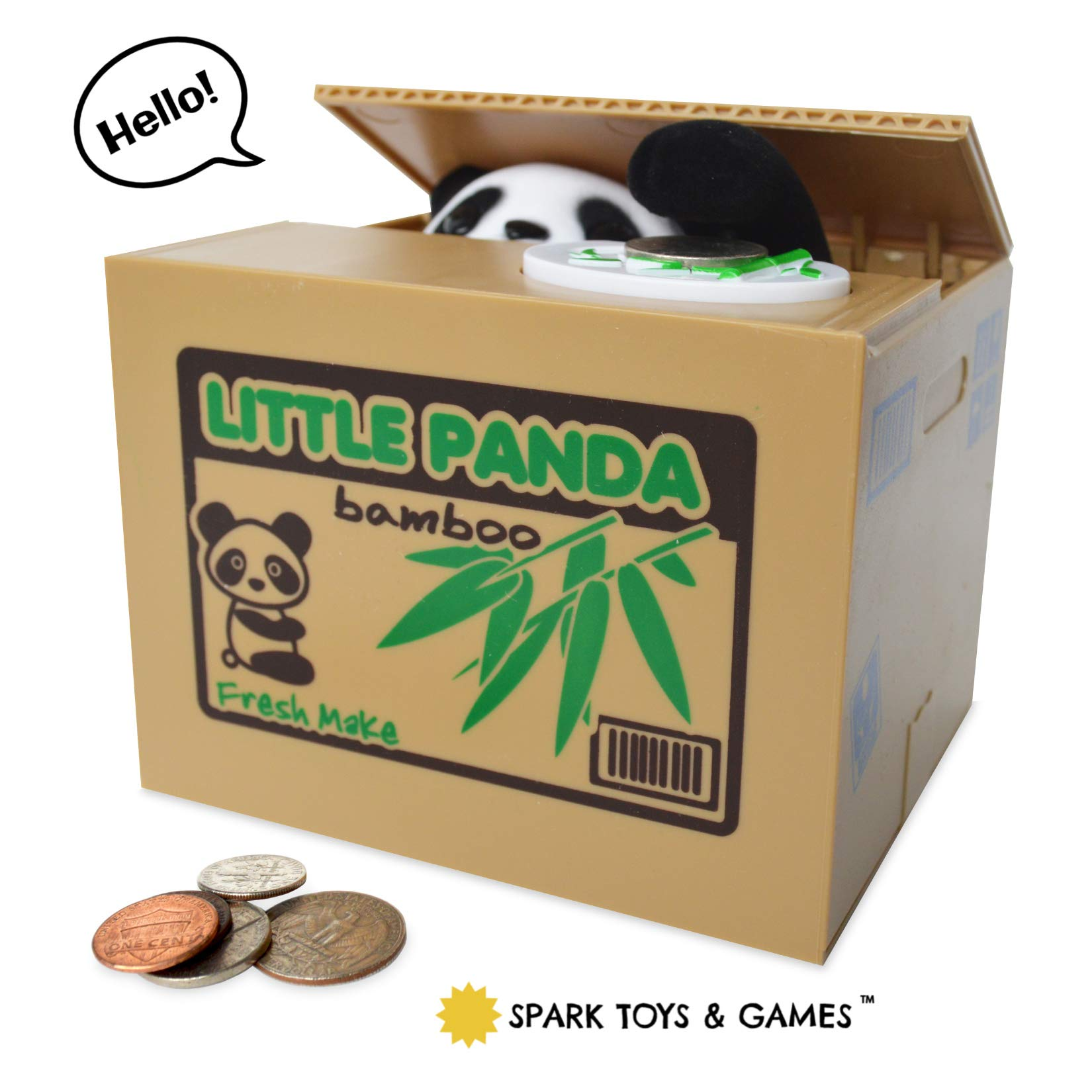 Panda Piggy Bank for Kids - Coin Stealing Mechanical Piggy Bank has a Cute Little Panda Bear inside the Bamboo Money Box who Pops Up and Steals Coins like Magic - Fun for Kids of All Ages by Spark Toys & Games