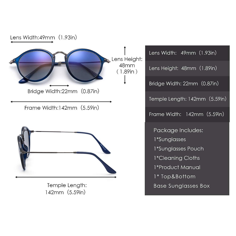 JIM HALO Retr/ò Occhiali da Sole Rotondi Lenti Specchio o Polarizzate Telaio in Metallo per Uomo Donna