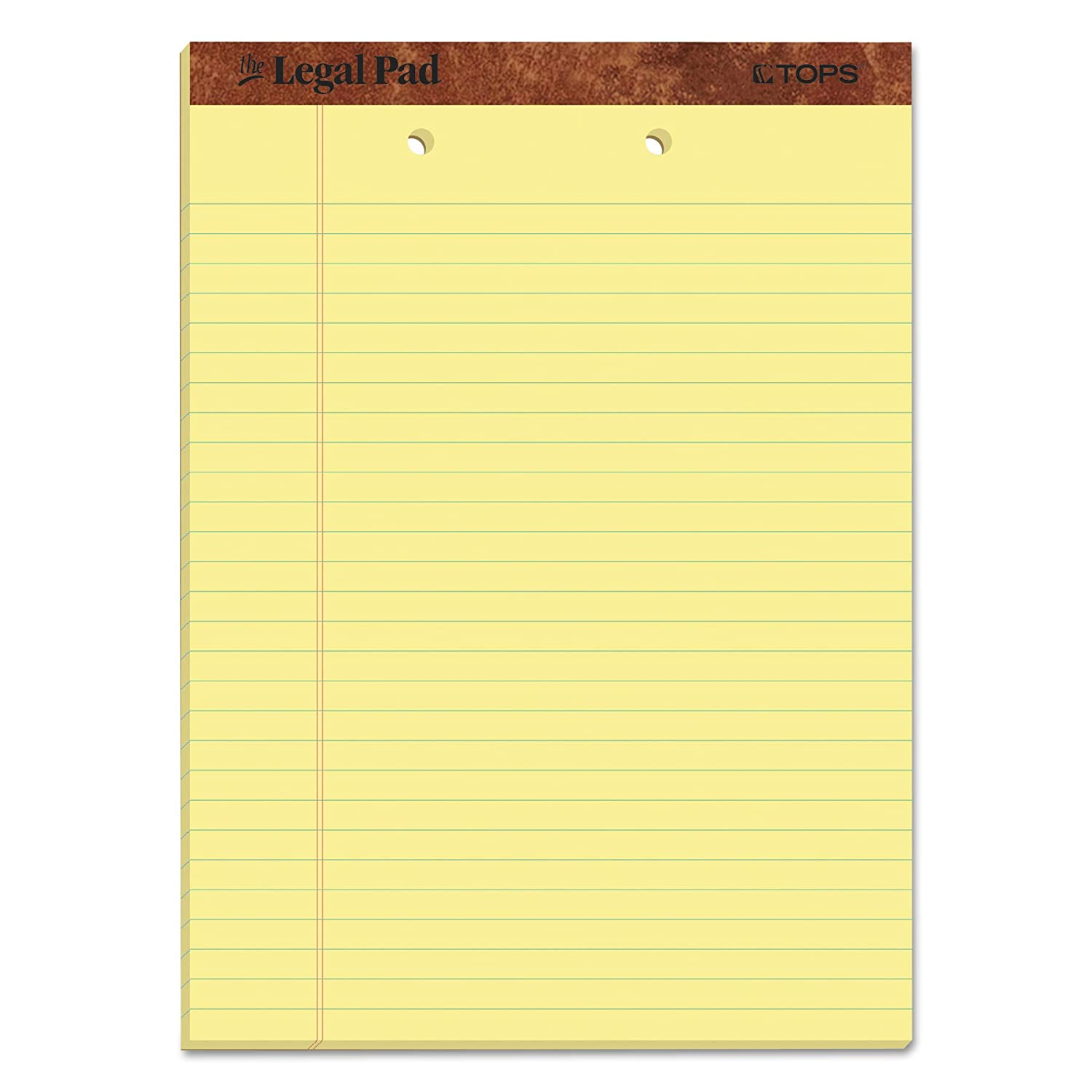 TOPS The Legal Pad Legal Pad, 8-1/2 x 11-3/4 Inches, Perforated, 2-Hole Punched, Canary, Legal/Wide Rule, 50 Sheets per Pad, 12 Pads per Pack (7531) TOPS Business Forms Inc