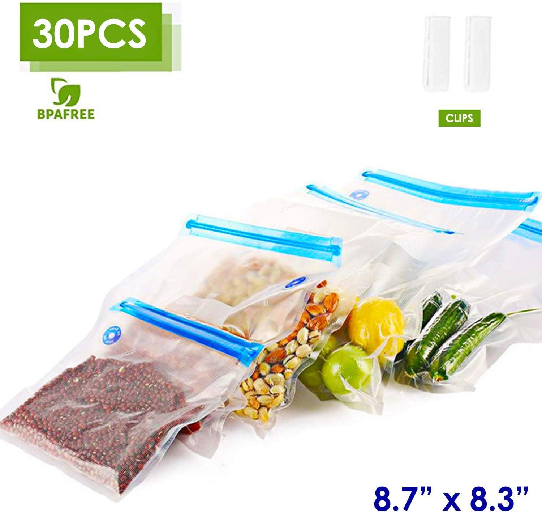 "VICARKO Sandwich Vacuum Sealer Bags Zipper Bags for Food Saver and Storage, compatible with VICARKO Handheld Vacuum Sealer Model VK9939 | 8.7"" * 8.3"", 30-Pack, Small"