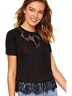 28b0318ac8647 Romwe Women's Contrast Lace Short Sleeve Floral Hem Summer Top T-Shirt