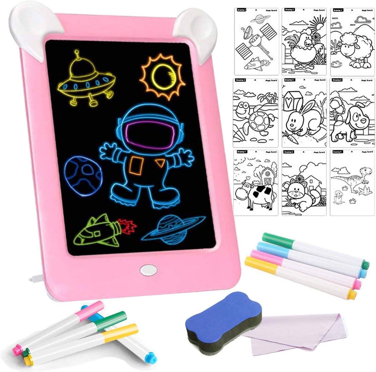 Tableta de Dibujo Pizarra 3D Mágica con Luces LED Educativo Infantil Borrable Dibujo de Graffiti Colorido Luminoso sin Papel & Marco de Fotos Regalos Juguetes para Niños (Rosa): Amazon.es: Oficina y papelería