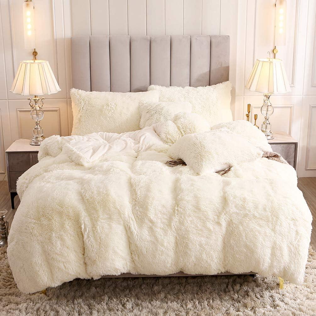 Uhamho Faux Fur Velvet Fluffy Bedding Duvet Cover Set Down Comforter Quilt Cover with Pillow Shams, Ultra Soft Warm and Durable (King, Cream)